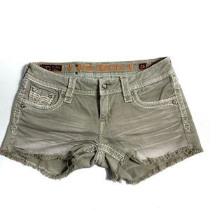 Rock Revival Shorts 26 Angie Tan Cutoff Denim